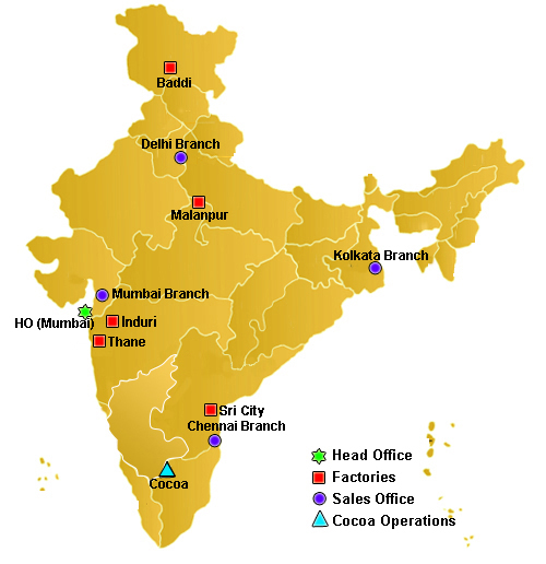 Our locations india mondelz international inc indicative map of india regional offices mumbai gumiabroncs Image collections